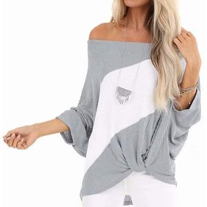 Tops - Waffle Knit Off The Shoulder Knot Batwing Top